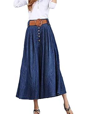 Moda Verano Vaquero Largo Plisado Falda Para Mujer Dama Elástico Cintura Falda Más El Tamaño Del Dril De Algodón...