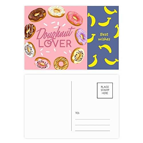Donut Circle Western Dessert Food Banana Postkarten-Set, Danksagungskarte, Mailing Seite, 20 Stück