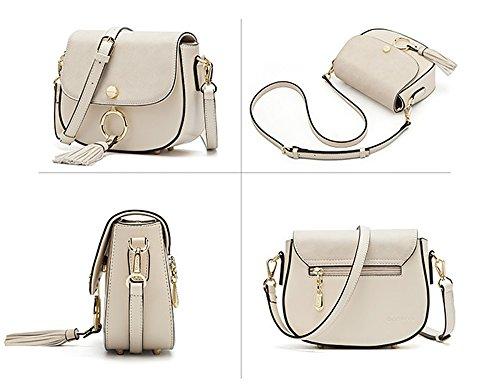 Xinmaoyuan Handtaschen der Frauen Kreis Quaste Handtaschen Freizeit Sattel Bag Schulter Messenger Tasche, Weiß Weiß