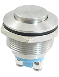 Sourcingmap - Acero inoxidable pulsador momentáneo interruptor 22mm ras spst montaje de encendido / apagado
