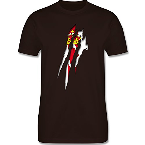 Länder - Nordirland Krallenspuren - Herren Premium T-Shirt Braun