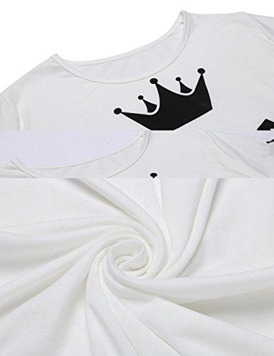 cooshional Liebespaar Pullover Herren Damen Sweatshirt grau dünn herbst frühling Paare Pullover Weiß
