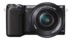 Sony NEX5RL/B 16.1MP Mirrorless Camera Body with SELP1650 Lens (Black) with Camera Case