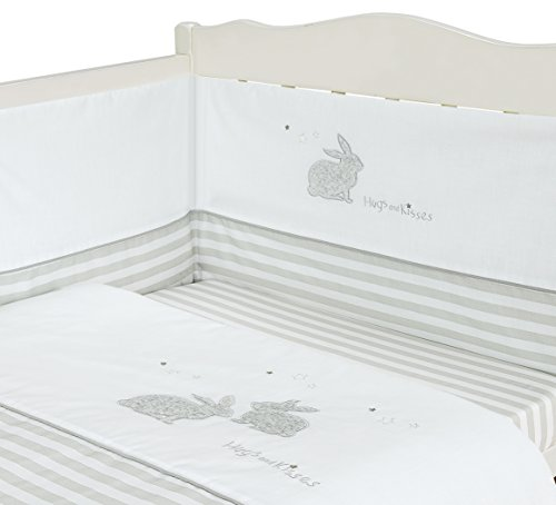 Baby Nursery Grey/White Stripes 3 Piece Cot Bedding Bale Set Rabbits