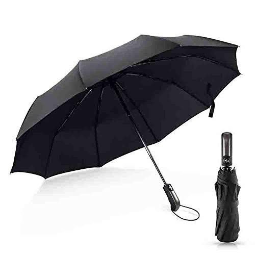 YSKGZ Regenschirm Wind Beständig Falten Automatik Regenschirm Regen Frauen Auto Luxus Große Winddicht Regen Für Männer Schwarz Beschichtung 10 Karat Sonnenschirm,Schwarz