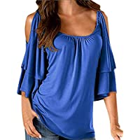 Damen T Shirt,Geili Frauen Sommer Kalte Schulter 1/2 Hülsen T-Shirt Tops Damen Mode Rundhals Rüschen Einfarbig... preisvergleich bei billige-tabletten.eu