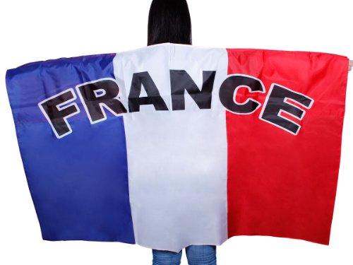Un poncho cap qui représente le drapeau Un accessoire de déguisement original pour les supporters de matchs sportifs.D'une grande visibilité,Allez les bleus bleu blanc rouge ambiance fête sportive évenement animation spéctacle il est idéal pour se faire remarquer depuis les tribunes.Drapé avec manches à enfiler.les couleu, choisir:UF-04 France