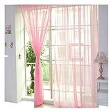 erthome 1 PCS Tulle Tür Fenster Vorhang Pure Color Drape Panel Sheer Schal Volants (Rosa (2 Stück), 270cm x 100cm (108