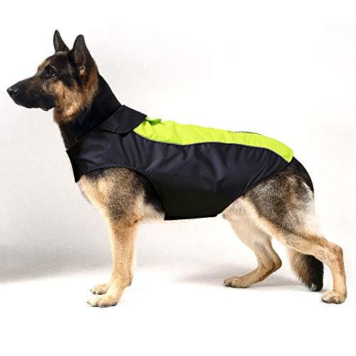 HiGuard Hunde-Regenjacke, leicht, wasserdicht, für große Hunde, mit Streifen, reflektierend und mit Leinenlöchern für den Winter, Warmer Regenmantel, Sicherheit für Hunde und Welpen, XXXL, grün