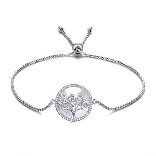 MEGA CREATIVE JEWELRY Damen Armband Lebensbaum Rosegold aus 925 Sterling Silber mit Perlmutt Kristallen von Swarovski