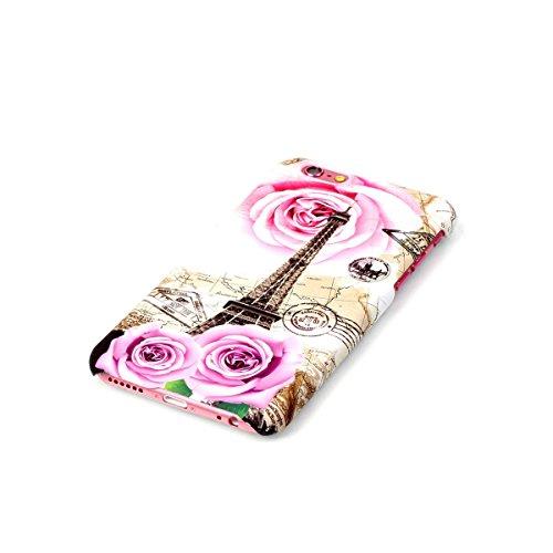 Hard Cas pour Apple iPhone 6 4.7 pouces, Ekakashop iPhone 6s Adorable Amusant Drôle Etui Arrière Protecteur Coque en Plastique Rigide, Motif de Ciel bleu Cocotier Defender Couverture Housse de Protect Rose Tower