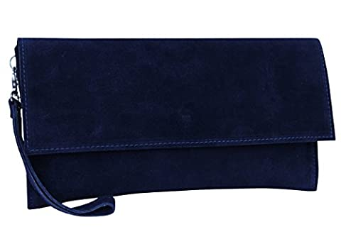 AMBRA Moda Women's genuine suede Clutch Handbag suede leather bag
