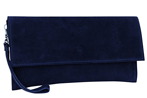 AMBRA Moda Damen Wildleder Clutch Handtasche veloursleder Tasche Handschlaufe WL811 (Marineblau) (Marine-blau-handtasche)