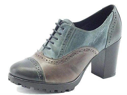 Scarpe Mercante di Fiori per donna modello francesina in pelle multicolore grigio, marrone e blu (Taglia 39)
