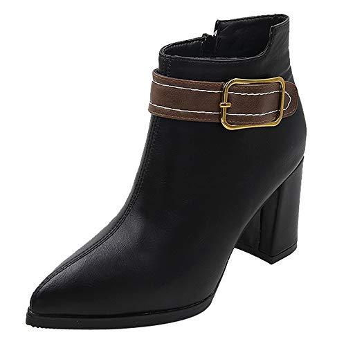 MYMYG Damen Leder Stiefel Frauen High Heel Schuhe Martain Boot Leder einfarbig Runde Zehe...