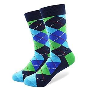 LILIKI@ 5 Paare/Los Männer Bunte Lustige Argyle Gekämmte Baumwollsocken Helle Männer Langes Mannschaftskleid-Socken Us-Größe 7.5-12