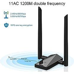 Recbot Clé WiFi USB 1200Mbps Adaptateur WiFi Antenne Détachable Double Bande 5.8GHz/867Mbps ou 2.4GHz/300Mbps,Compatible AVCE Windows 2000/XP/Vista/7/8/10,Linux,Mac.