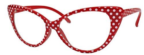 50er Jahre Damen Brille Cat Eye Nerdbrille Klarglas Brillengestell FARBWAHL KE (Small Dots Red)