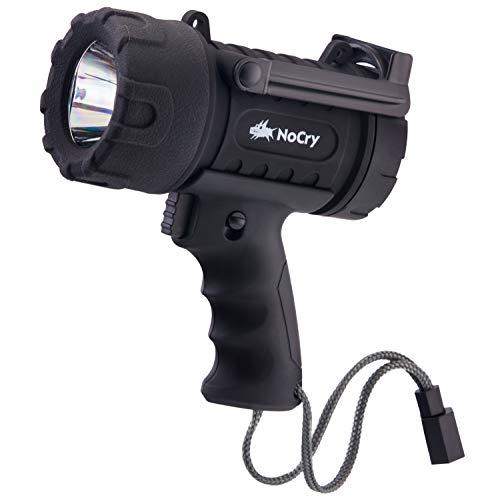 NoCry LED Taschenlampe | Wasserfest & wiederaufladbar | Suchscheinwerfer mit 1000 Lumen | Abnehmbarer Rotlicht Filter | Mit Wand- und KFZ-Ladegerät | LED Handscheinwerfer (Schwarz) -