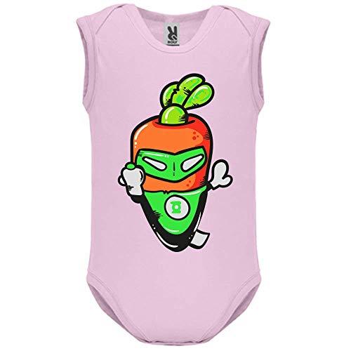 LookMyKase Body bébé - Manche sans - Super Carrot - Bébé Fille - Rose - 12MOIS