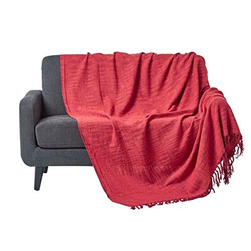 Homescapes Handgewobene Tagesdecke Nirvana mit Knoten-Optik 255 x 360 cm Plaid aus 100% Reiner Baumwolle Bettüberwurf Sofaüberwurf mit Fransen, rot orange Rot Mit Fransen
