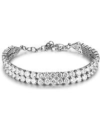 4mm White Cubic Zirconia Double Tennis Bracelet Bride Bridesmaid Wedding Anniversary Jewellery