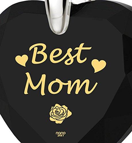 Pendentif Argent 925 avec inscription Best Mom en Or 24cts sur un Zircon en forme de Coeur - Bijoux pour la meilleure des mamans - Cadeau Fete des mères Noir