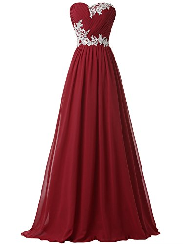 Clocolor Vestido largo A-line cóctel vintage clásico para mujer sin tirantes vestido con appliques del encaje vestido formal de fiesta de noche (US 16)
