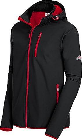 Stubai Herren Softshell Jacke / Übergangsjacke mit abnehmbarer Kapuze, wasserdicht und windabweisend (Größen: M - 4XL, Farbe: Schwarz /