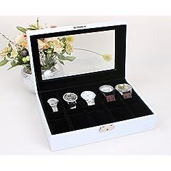 Leder Uhrenkoffer für 10 Uhren Uhrenbox Schaukasten Uhrenkasten Uhrenvitrine Uhrenschatulle