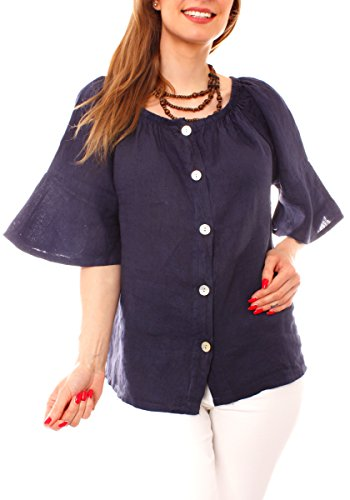 Easy Young Fashion Damen Off-Shoulder Leinenbluse One Size Marine