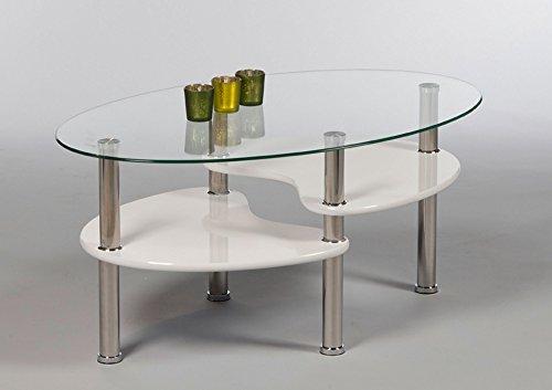 lifestyle4living Couchtisch, Tisch, Wohnzimmertisch, Salontisch, Sofatisch, Kaffeetisch, Clubtisch, weiß, Glas, Glastisch, oval, lackiert, B/H/T ca 90/42/55 cm
