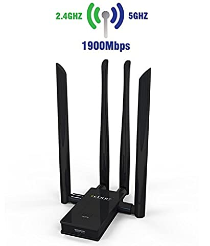 EDUP - USB3.0 11AC 1900 DUAL BAND WLAN Adapter / Wireless Netzwerkadapter / USB Wlan Stick / Wifi Dongle / 4T4R MiMo / 4 x 6dbi externe Antennen / 2.4 GHz (600 Mbps) & 5 GHz (1300Mbps) Frequenzband / IEEE 802.11 b/g/n/ac / WPS Taste