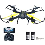 HASAKEE H3 Drone con Wifi FPV Cámara HD RC Quadcopter 2.4GHz 4CH 6 Ejes Girocompás con control de altura,Modo Headless,Función de Flips 3D