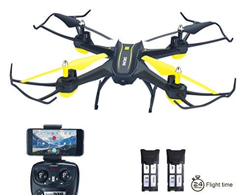 Produktbild H3 RC Drohne mit Kamera HD Live übertragung und App Steuerung 2.4GHz 4CH 6-Axis Gyro Quadrocopter mit Höhenhaltung, Schwerkraftsensor und Headless Modus Funktion RTF, Zwei Akkus