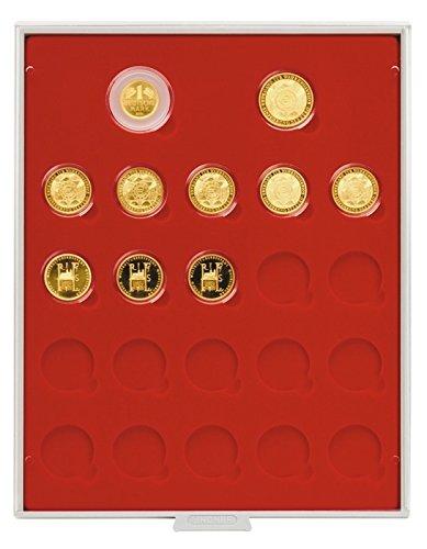 Scatola per monete Standard per 1x 1 DM Oro, 1x 200 Euro Oro & 20x 100 Euro Oro (Lindner 2522) con cassetto grigio, cornice cristallino & inserto in velluto rosso chiaro