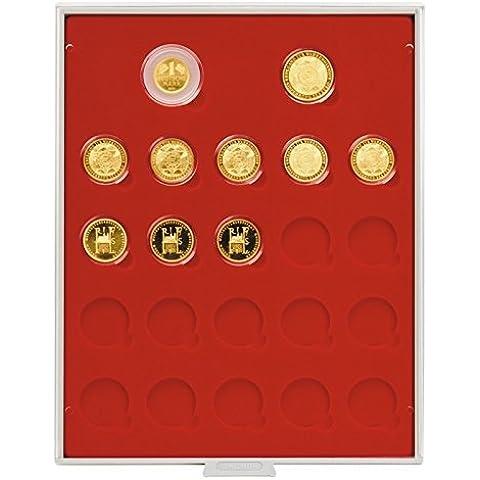 Scatola per monete Standard per 1x 1 DM Oro, 1x 200 Euro Oro e 20x 100 Euro Oro [Lindner 2522], Con cassetto grigio, cornice cristallino e inserto in velluto rosso chiaro