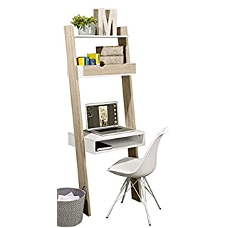 SoBuy® FRG111-WN, Ladder Shelf Wall Shelf Storage Display Shelving Unit with Drawer & Desk Workstation