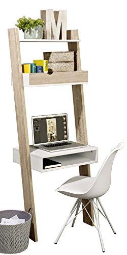SoBuy® Bücherregal mit Schreibtisch, Standregal, Wandregal, mit Ablagen, FRG111-WN