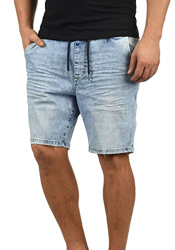 Blend Demo Herren Jeans Shorts Jogger-Denim Kurze Hose Mit Elastischem Bund Und Destroyed-Optik Aus Stretch-Material Regular Fit, Größe:M, Farbe:Denim Lightblue (76200) - Edge Bermuda Shorts