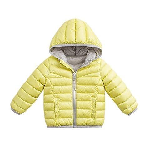 marc janie Baby Toddler Boys' Hoodie Packable Lightweight Down Puffer Jacket Lemon Yellow 4T