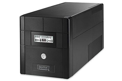 DIGITUS Professional Line-Interactive USV Anlage, 1000VA/600W, 12V/7Ah x2 Batterie, 4x Schuko, AVR, USB, RS232, RJ11/RJ45, LCD-Display
