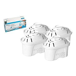 Boston Tech HK-102, 4 filtres à Eau Compatible avec Brita Maxtra Iris et Fresia. Effet prolongé (8 Mois, 4 x 60 Jours Chaque Filtre)