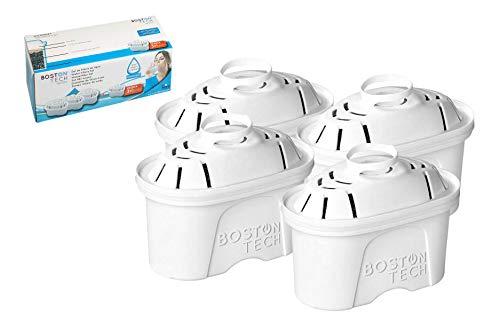 Boston Tech HK-102a, 4 filtros de Agua compatibles con Jarras Brita Maxtra. Efecto Prolongado (8 Meses, 4 x 60 días Cada Filtro)