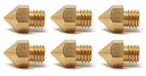 3D Drucker Düsen - Passend zu Makerbot RepRap Anet Anycubic Flashforge - 0,2mm (2x)   0,3mm (2x)   0,4mm (2x) - Insgesamt 6 Stück - Hochwertige MK8 Extruderdüsen für 1,75mm Filament