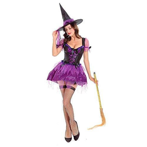 lsspiele Magie Moment Sexy Hexenkleid Erwachsene Cosplay Teufel Halloween Party Maskerade Kostüme Für Frauen (Color : Purple) ()