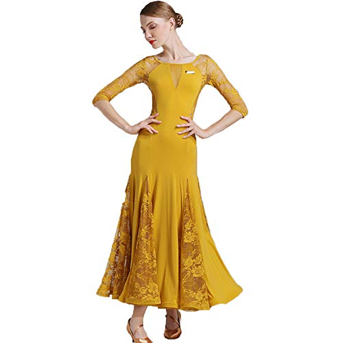 CPDZ Lyrical Dance Kleid für Frauen Moderne Mode Ballkleid Ingwer Durchsichtige Mesh-Spitze Blumendruck V-Ausschnitt Maxi-Kleid Klassisch Skater Kleid Kleid Nacht Cocktail Latin Waltz,M (Skaters Waltz Kostüm)