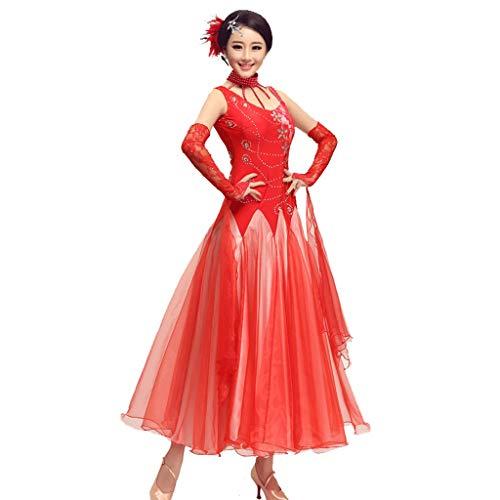 Kostüm Waltz Ballroom - CX National Standard Ballroom Dance Kleider Damen Tango Waltz Performance Tüll/Strass Kostüm (Color : Red, Size : XXXL)