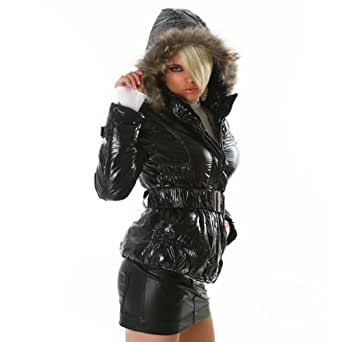 Classy wet look quilted fur lined jacket black 44 (WS-813)