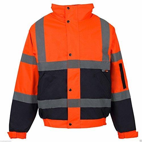 Fast Fashion – 2 Deux Tons Hi Viz Bombardier Manteau Réfléchissante Veste Vêtements De Travail Rembourré Imperméable – Mens